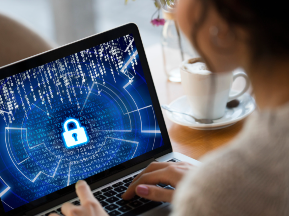woman on secure laptop